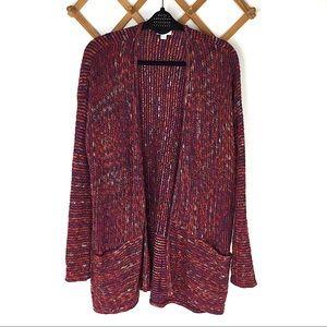 J. Jill Red Colorful Open Knit Cardigan Sweater